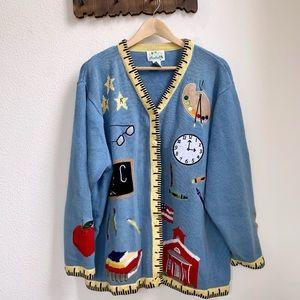 Vintage | Embroidered Teacher Knit Cardigan